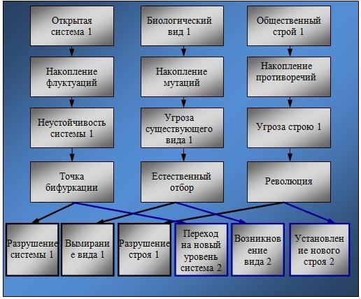 Схема самоорганизации открытых